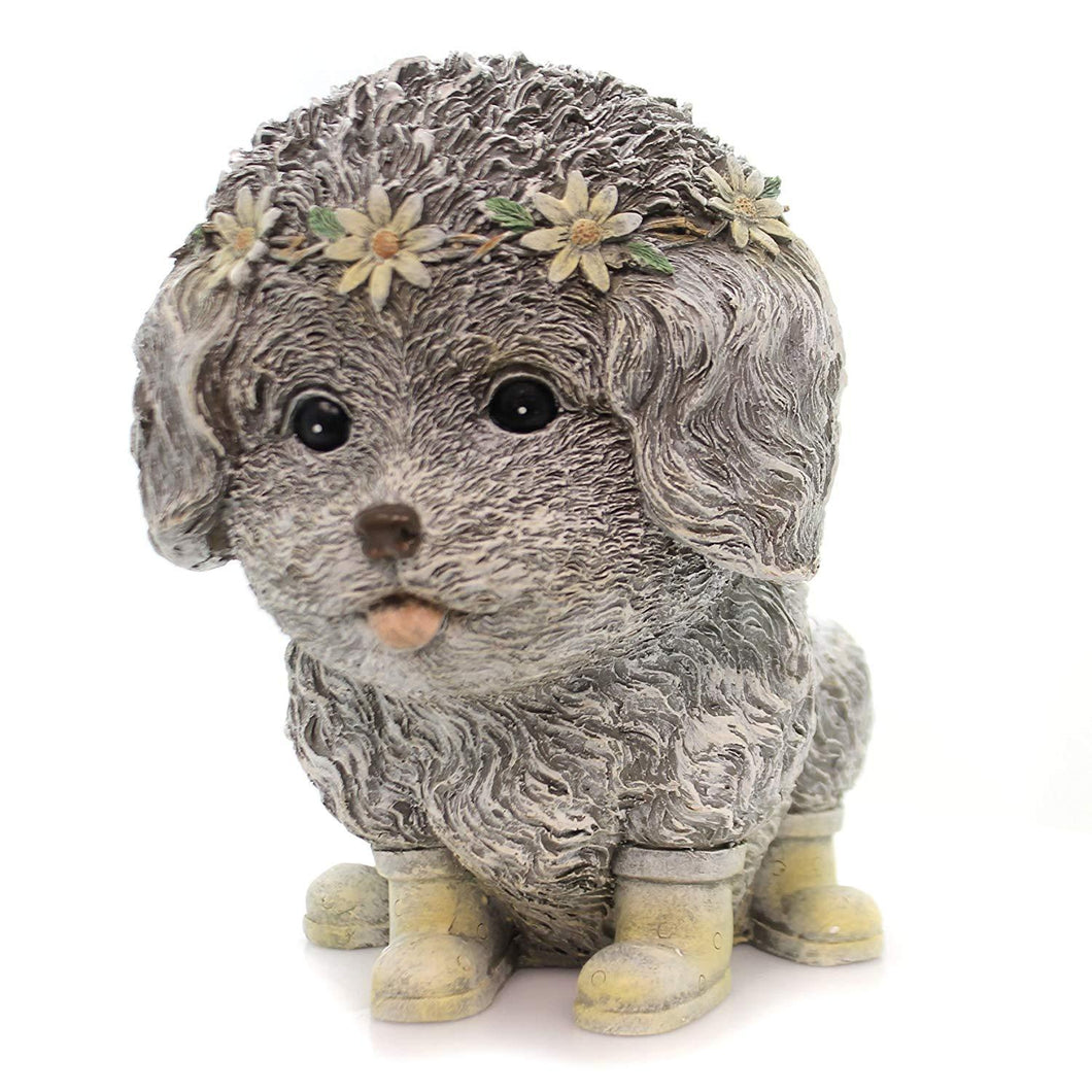 Rainy Day Pudgy Dog Textured Grey 7 x 9 Resin Stone Outdoor Garden Statue