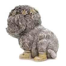 Load image into Gallery viewer, Rainy Day Pudgy Dog Textured Grey 7 x 9 Resin Stone Outdoor Garden Statue