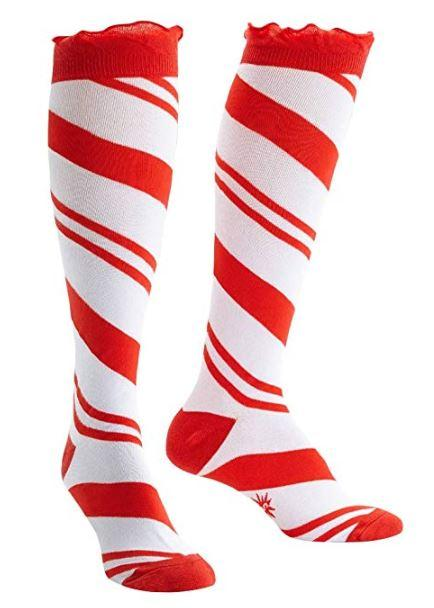 Candy Cane Funky Knee High Socks
