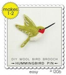 Woolpets Hummingbird Brooch Pin Wool Needle Felting Craft Kit