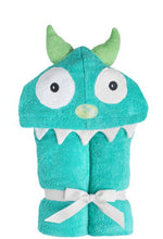 Load image into Gallery viewer, Yikes Twins - Monster -Turquoise Hooded Towel