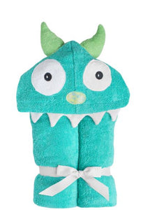 Yikes Twins - Monster -Turquoise Hooded Towel