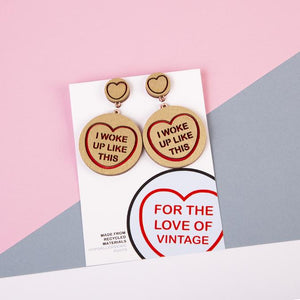 Beyonce Candy Heart Statement Earrings - I Woke Up Like This