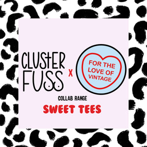 Cluster Fuss x FTLOV Collaboration - Stay Fierce Leopard Cat Candy Heart T-Shirt