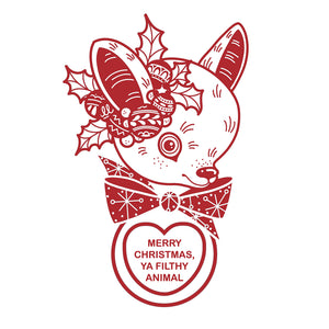 Cluster Fuss x FTLOV Collaboration - Home Alone Merry Christmas, Ya Filthy Animal Vintage Deer Candy Heart Ringer T-Shirt