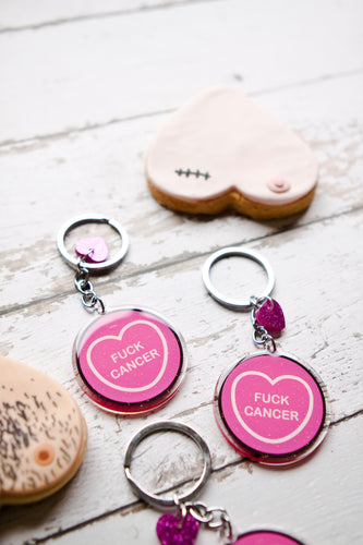Breast Cancer Fundraiser Candy Heart Keyring/Keychain - Fuck Cancer