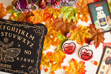 Load image into Gallery viewer, Halloween Scream Candy Heart Statement Earrings - Do You Like / Scary Movies?