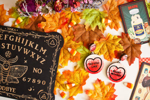 Halloween Scream Candy Heart Statement Earrings - Do You Like / Scary Movies?