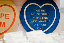 Load image into Gallery viewer, Doctor Who Candy Heart Wall Hanging - We Are All Stories In The End, Just Make It A Good One