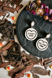 Halloween The Crow Candy Heart Statement Earrings - It Can't Rain / All The Time
