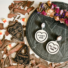 Load image into Gallery viewer, Halloween The Crow Candy Heart Statement Earrings - It Can't Rain / All The Time