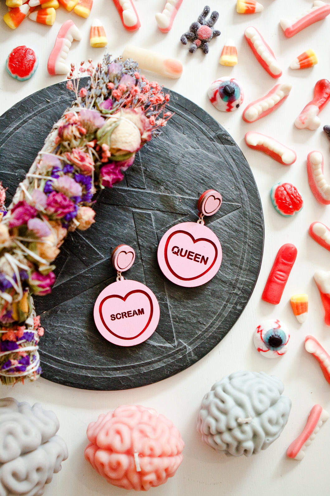 Halloween Candy Heart Statement Earrings - Scream Queen