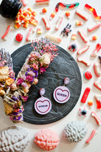 Load image into Gallery viewer, Halloween Candy Heart Statement Earrings - Scream Queen