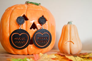 Halloween Candy Heart Statement Earrings - Hocus Pocus