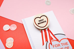 Best Midwife Candy Heart Adult Merit Brooch