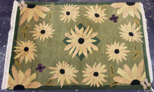 Contemporary 4 x 6 Green Yellow Discount Rug #2822