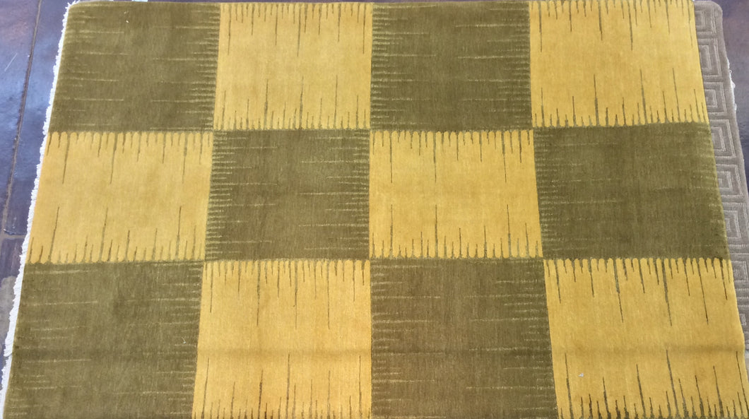 Contemporary 6 x 9 Gold, Green Discount Rug #51425