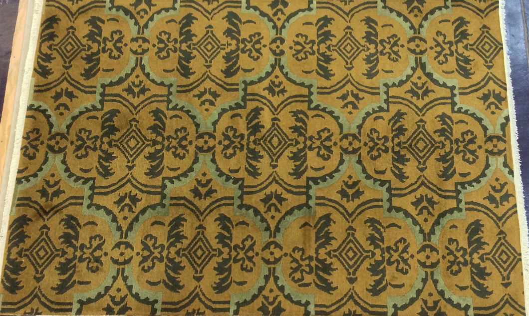 Contemporary 6 x 9 Gold Discount Rug #50643