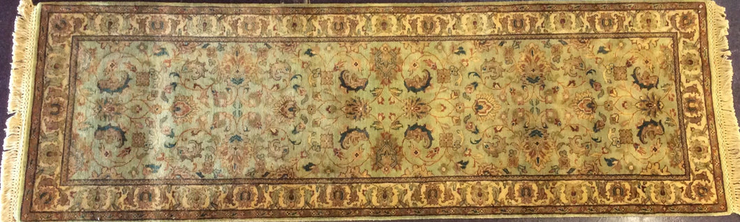 Traditional 3 x 10 Green, Ivory Rug #28952