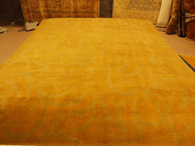 Contemporary 9 x 12 Gold Discount Rug #2067