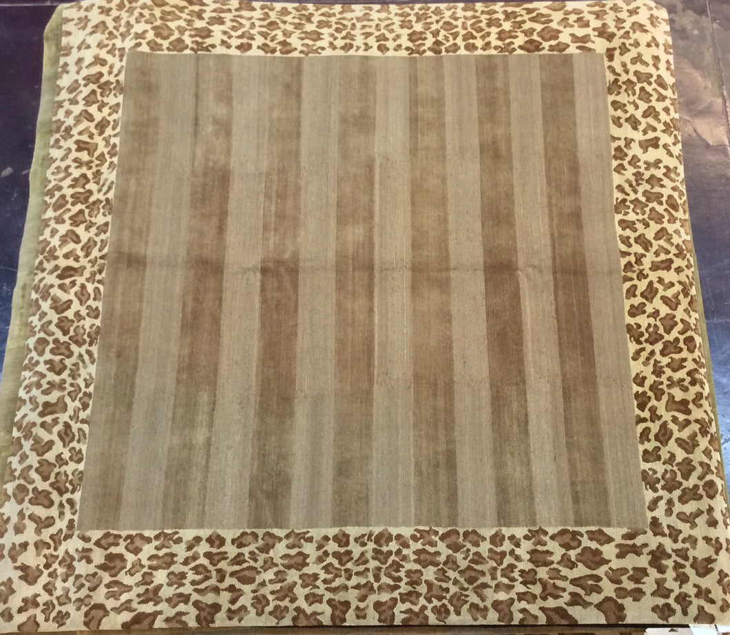 Contemporary 8 x 8 Gold Rug #11799