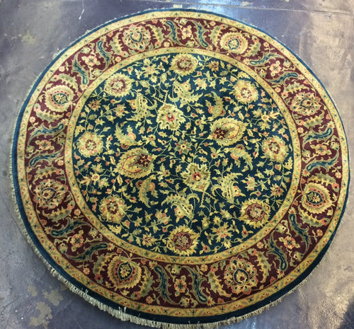 Traditional 8 x 8 Blue, Red Rug #9900