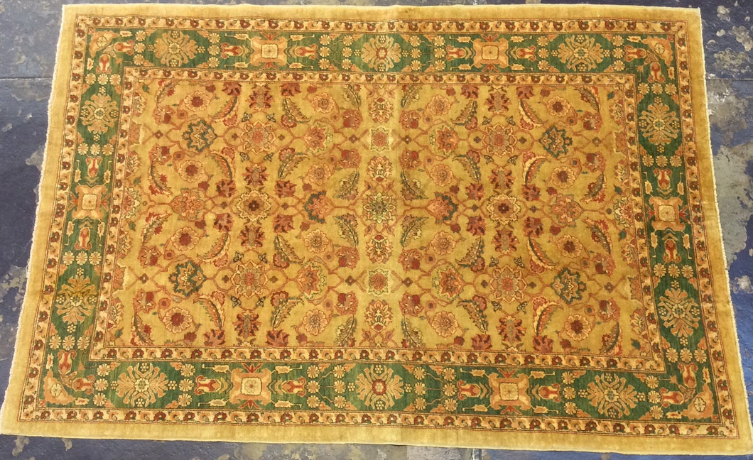 Traditional 6 x 9 Gold, Green Rug #5154
