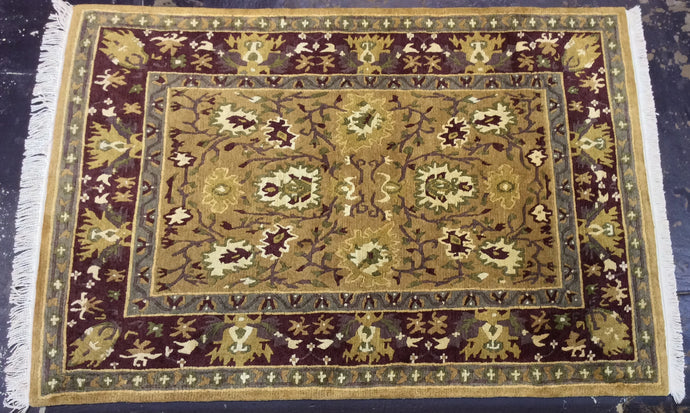 Contemporary 4 x 6 Gold Purple Discount Rug #6416