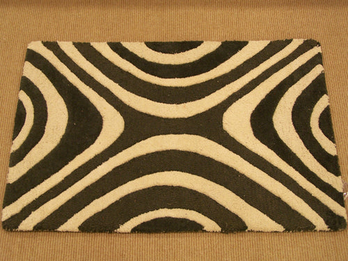 Contemporary 2 x 3 Black, Ivory Rug #46938