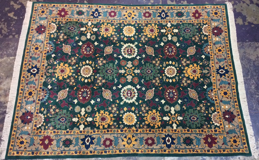 Traditional 9 x 12 Green Rug #51043