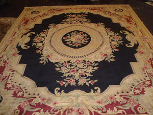 Traditional 9 x 12 Black Rug #50755