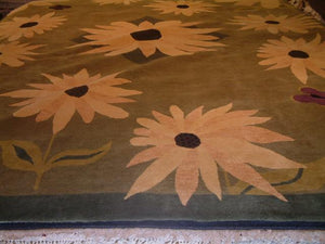 Contemporary 9 x 12 Yellow Discount Rug #50822