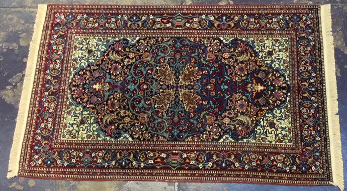 5 x 7 Persia Kashan Blue Red #66676