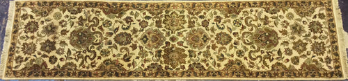 Oriental 3 x 12 Gold, Ivory Rug #4431