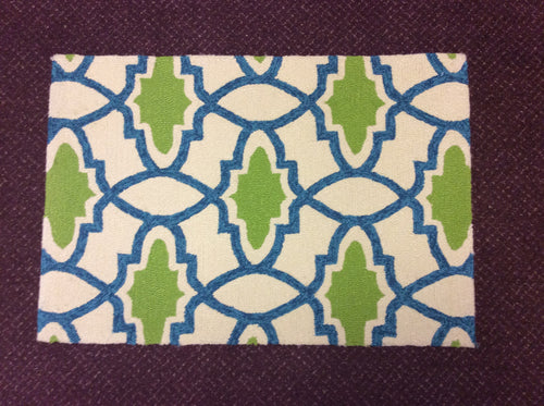 2 x 3 India Contemporary Blue Green #68519