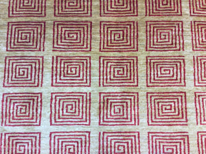 Contemporary 6 x 7 Ivory, Red Rug #17332