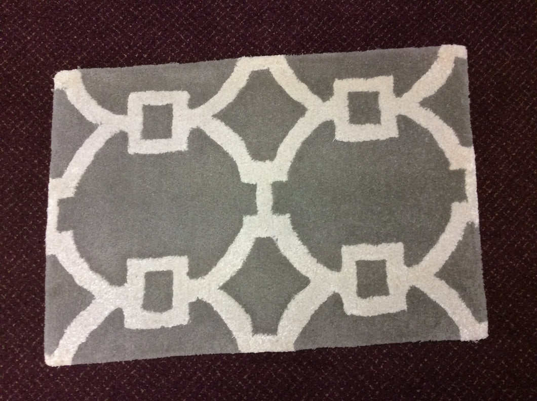 Contemporary Ivory, Grey 2x3 Oriental Wool Rug