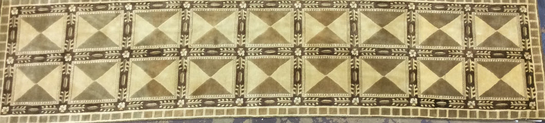 Contemporary 3 x 11 Ivory Discount Rug #828