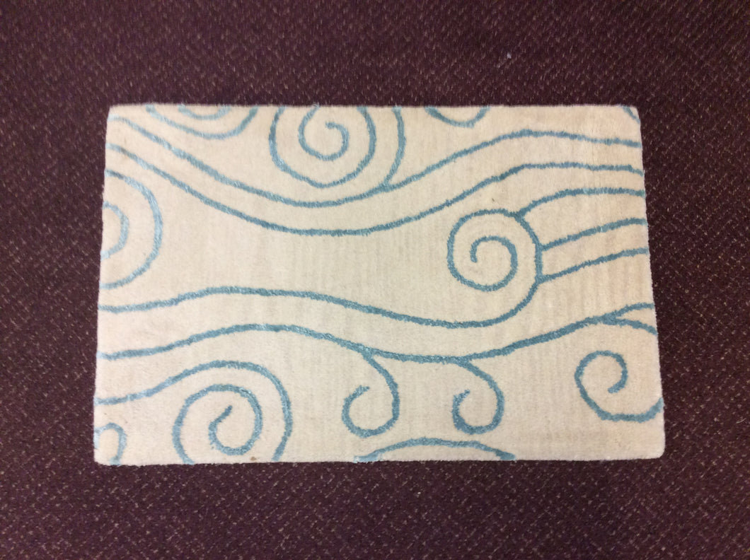 2 x 3 India Contemporary Ivory Blue #68844