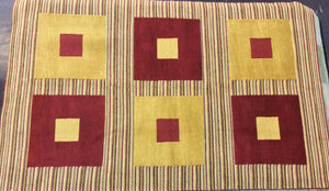 Contemporary 5 x 8 Red, Gold Rug #51396