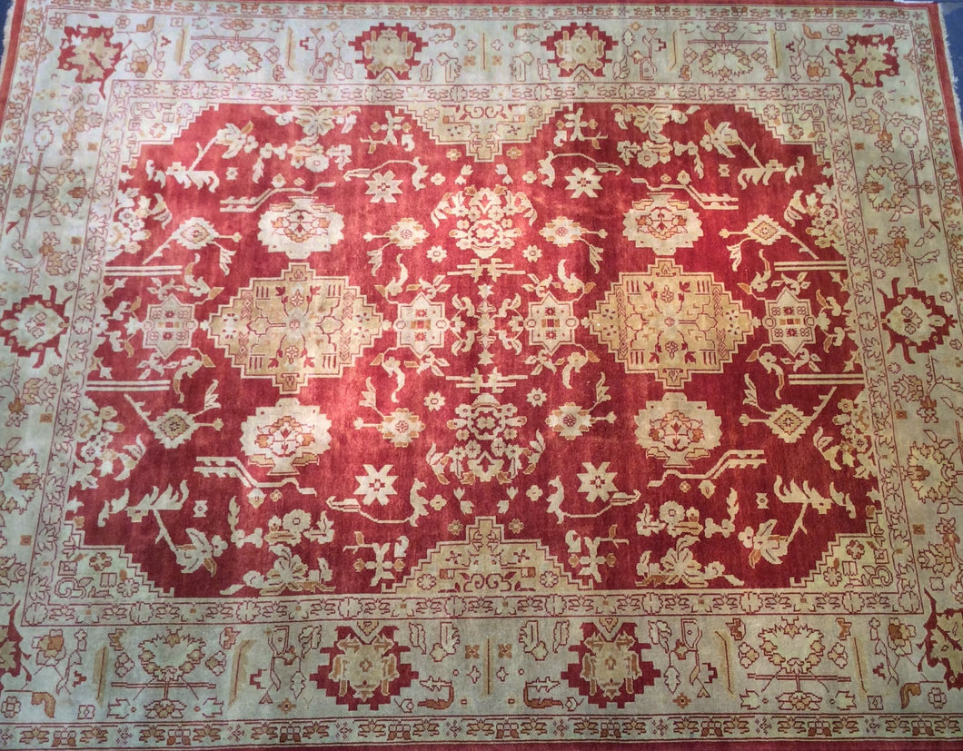 Traditional 8 x 10 Red, Gold Rug #4834