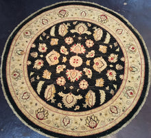 Load image into Gallery viewer, Traditional 6 x 6 Black, Gold Rug #31542