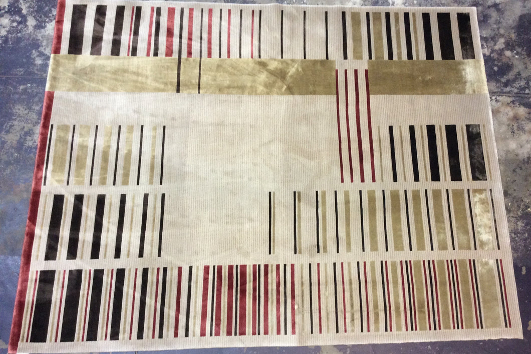 Contemporary 8 x 10 Beige Ivory Discount Rug #53566