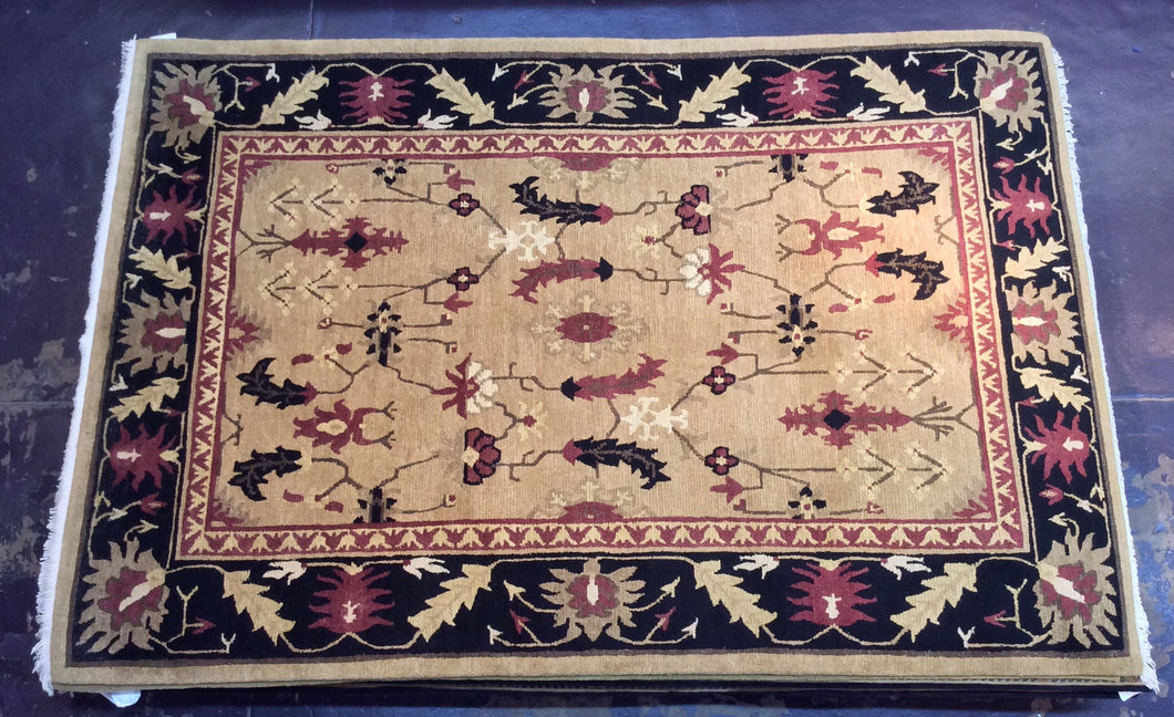 Traditional 6 x 9 Gold, Black Rug #12470