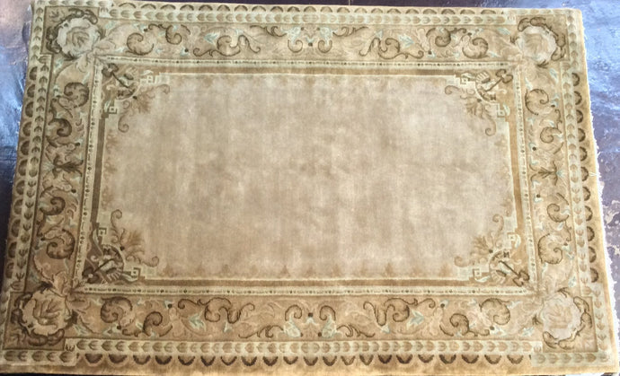 Traditional 6 x 9 Beige, Gold Rug #50966