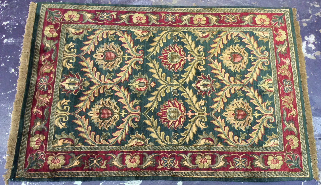 Oriental 4 x 6 Green, Red Rug #1449