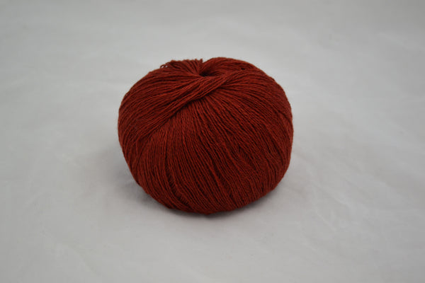 100% Cashmere, lace wt., Brick Red