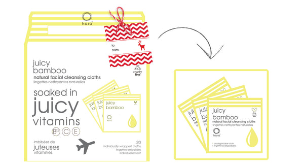Kaia Naturals Juicy Bamboo Natural Facial Cleansing Cloths - Box-To-Go