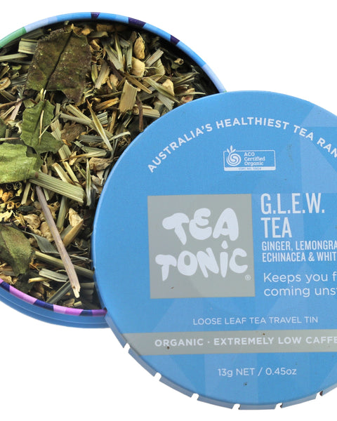 GLEW (Ginger, Lemongrass, Echinacea, White Tea) Tea Loose Leaf Travel Tin