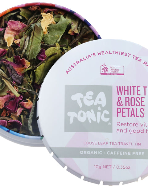 White Tea & Rose Petals Loose Leaf Travel Tin